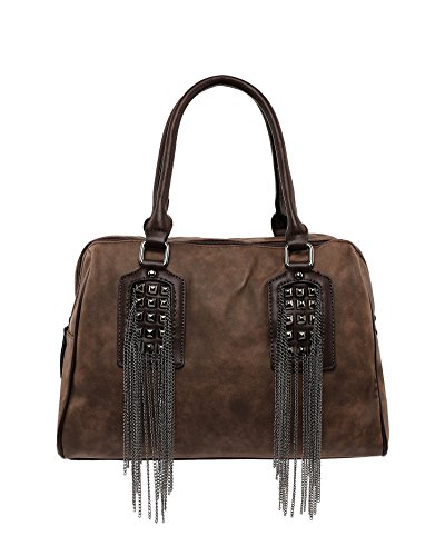 Jezzelle Chain Fringe Bowler Bag, Brown, One Size