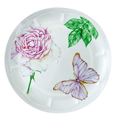 Butterfly Party Plates - Disposable Plastic Dinnerware Party Supplies - Multi Color Flowers - Real China Look - Hard and Reusable - Round Ivory Plate (36, 9