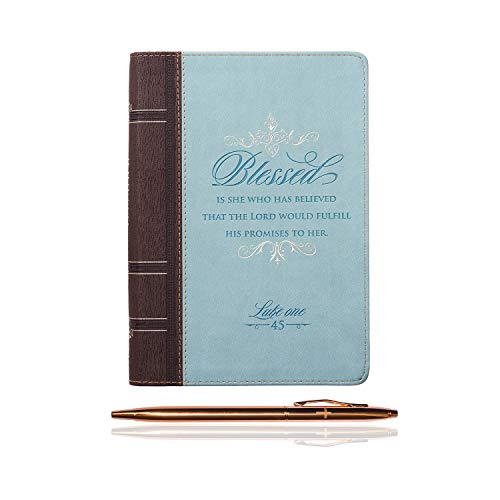 (Inspirational Christian Quotes Zippered Journal Diary Notebook with a Rose Gold Tone Pen Bundle (Blessed - Luke 1:45) )