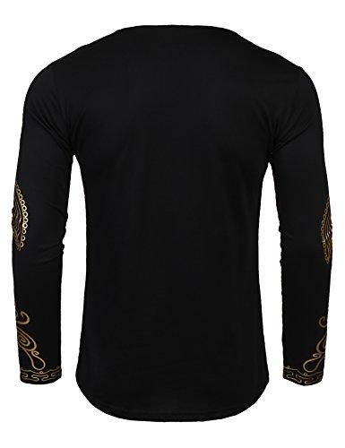 JINIDU Men's African Dashiki Shirt Metallic Floral Printed Tops Blouse by JINIDU (Image #3)