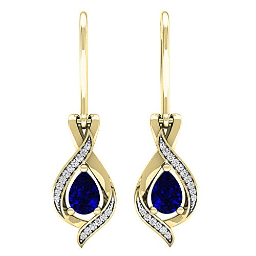 (Dazzlingrock Collection 10K 7X5 MM Each Pear Blue Sapphire & Round White Diamond Ladies Drop Earrings, Yellow Gold)