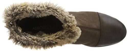 Aerosoles Stay Inside - botines bajos con forro cálido de cuero mujer marrón - marrón oscuro