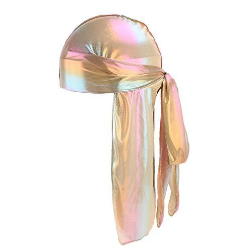 Fxhixiy Unisex Long Silk Bandana Turban Hat Wigs Doo Durag Biker Hair Headwrap Cap Pirate Cap 360 Waves ()