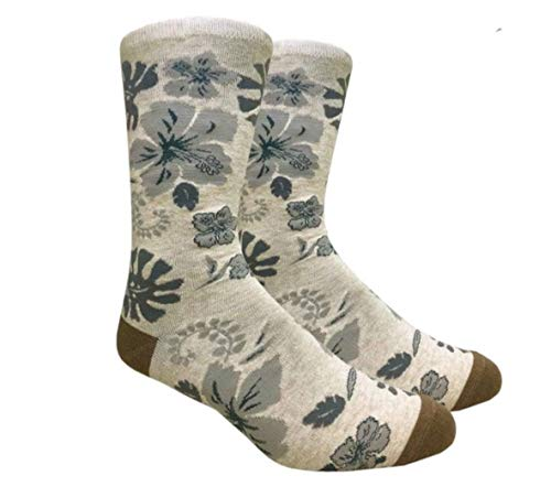Urban Peacock Men's Fashion Dress Socks (Multiple Patterns to Select From) (Hawaiian Flowers - Beige, 1 Pair)