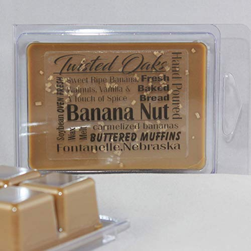 Banana Nut Scented. Sweet Ripe Banana, Walnuts, Vanilla and A Touch of Spice. Soybean Blend Wax Melt. Wax Chunks Hand Poured by Twisted Oaks Wax Works, Nebraska.