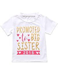 2018 Baby Girl Clothes Outfit Big Sister Letter Print T-Shirt Top Blouse Shirts