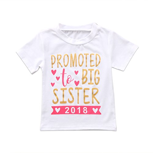 Big Sister Toddler Shirt (Guogo 2018 Baby Girl Clothes Outfit Big Sister Letter Print T-shirt Top Blouse Shirts (White, 2-3 Years))