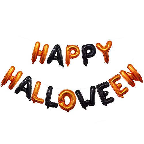 (bjduck99 Halloween Bunting Banner Happy Halloween Garland Flag Bat Spooky Balloons Party Halloween Decoration Props Black +)