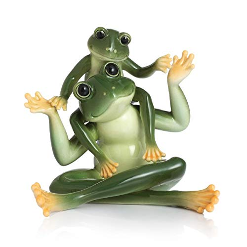 Franz Fine Porcelain Retired Amphibia Frog Father Son Figurine in Adorable Treasures Gift Box