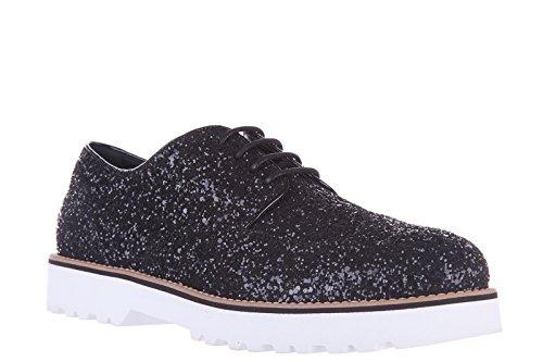 Zapatos Formales Con Cordones Hogan Para Mujer De Cuero Clásico Con Cordones Derby Glitter Black