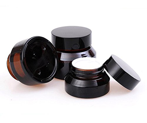 15g Gram 15ml(0.5 OZ) Amber Glass Empty Refillable Inclined Shoulder Cosmetic Jars Empty Face Cream Lotion Lip Balm Storage Container Cream Jar Pot Bottle with Liners and Screw Lid (15g)