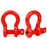 """3/4"""" (2 Pack) D-Ring Shackle, 4 3/4 tons WLL (9,500 Lbs), Heavy Duty Galvanized D Ring (Red)"""