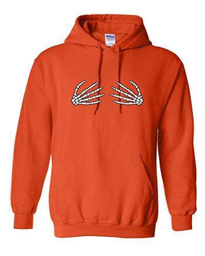 Skeleton Hands On Boobs Costume Sarcastic Funny Halloween Hoodie S Orange (This Guy Just Won Halloween)