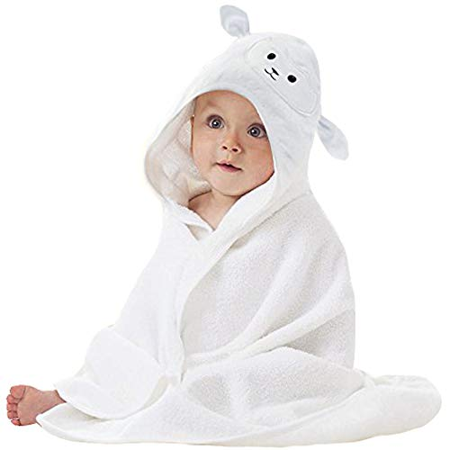 Organic Bamboo Baby Hooded Towel with Bonus Washcloth   Ultra Soft and Super Absorbent Toddler Hooded Bath Towel with Cute Lamb Face Design   Great Infant/Newborn Shower Present for Boy or Girl ()