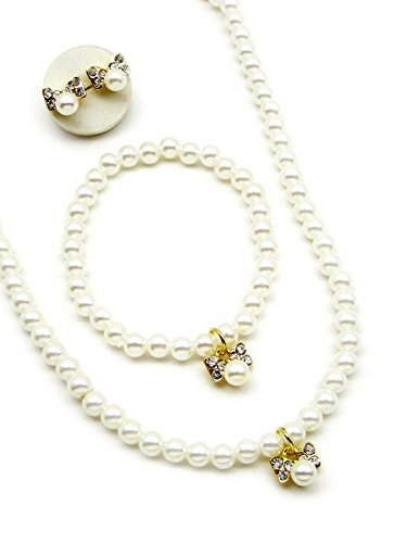 Acrylic Pearl Jewelry Set for girls [Necklace, Bracelet, and Earrings] Ribbon