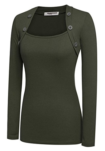 eeve Button Decor Slim Casual Basic T-shirt Blouse (Army, X-Large), Army Green, X-Large High Quality ()