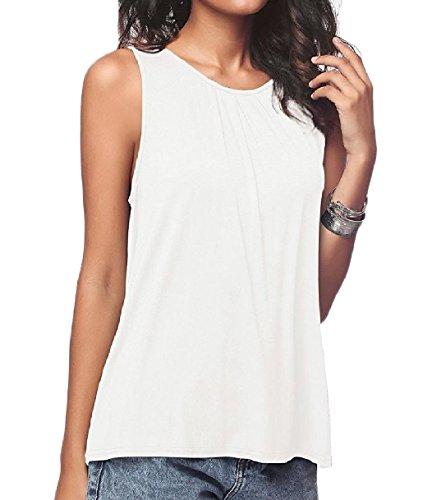 犬夜明けに粒子Tootess Women Basic Cotton Pure Color Casual Round Neck Stretch Vests