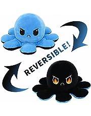 Sfeervolle octopus-knuffeldier octopus-pluche figuur - Mupack Octopus pluche dier, octopus-pluche omkeerbaar, niet gemakkelijk te scheuren, Octopus als cadeau voor kinderen, jongens, meisjes, blauw + zwart