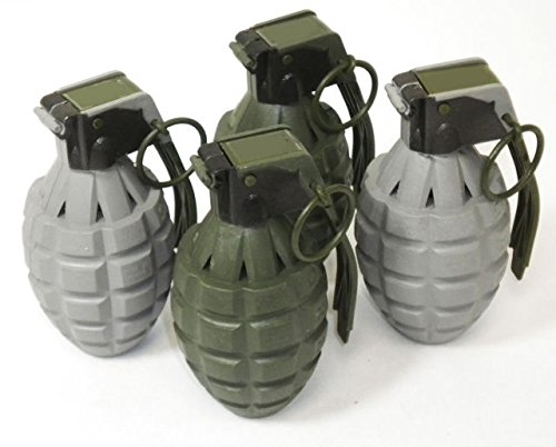 Set of 4 Kids Toy B/o Army Style Grenades with Light and Sound for Pretend Play - Army Grenade