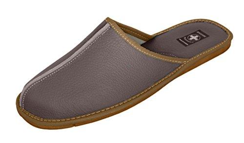 Auténtica piel de hombres zapatillas, chanclas, Mulas con suela anatómica o forro de lana. Varios colores gris