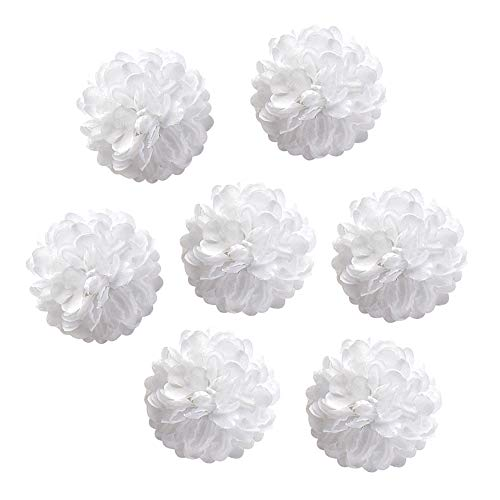 Fake flower heads in bulk wholesale for Crafts Silk Carnation Artificial Pompom Flower Head Mini Hydrangea Home Wedding Decoration DIY Wreaths Party Birthday Decor 30pcs 4.5cm (White)