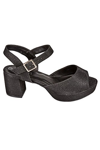 Finish Glitter Women's In Eee Fit Black True With Sandals Wide Heel Textured Fit Block 8BZTp4pqHw
