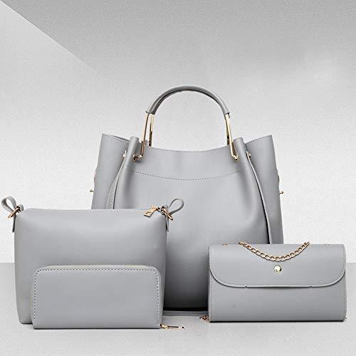 Femminile Da Borsetta Set Bag Grey Messenger Moda 4 Secchio Di LUCKYCCDD Pink Olio PU Donna Borsa qvTww5