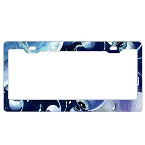 YEX Abstract Awesome Music License Plate Frame Novelty Car Tag Frame Auto License Plate Holder 12