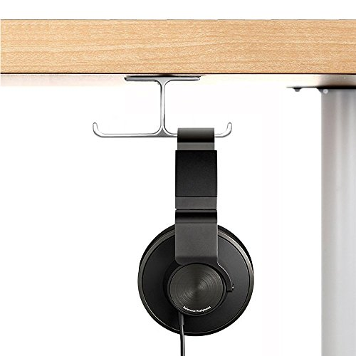 Headphone Mount, 6amLifestyle Headset Holder Hanger, Aluminum Under Desk Dual Headsets Stand, Stick-On Hooks Universal for All Headphones, Silver (Patented)