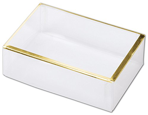 Trimmed Box (Clear Gold Trimmed Boxes, 2-Piece, 4 1/2 x 3 x 1 3/8