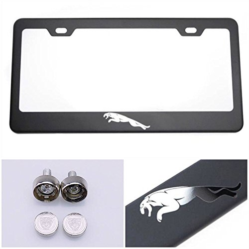 License Plate Holder For Jaguar With Real Laser Engraving Logo on 100% Stainless Steel Black Powder Coated Front and Back Comes with Srew caps by UFRAME