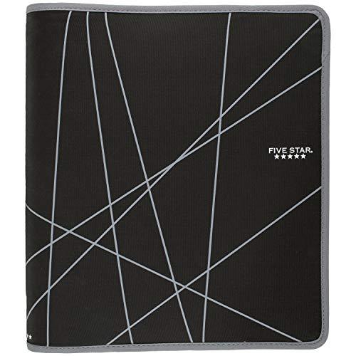 Five Star 1-1/2 Inch Zipper Binder, Ring Binder, Black (72360) (Five Star Binder)