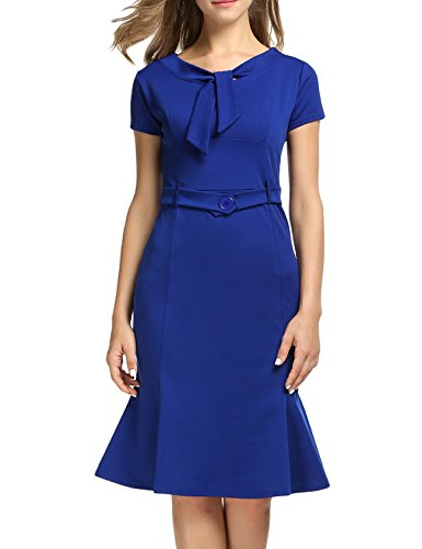 ANGVNS Women Elegant Bodycon Vintage Evening Party Midi Dress (Elegant Evening Wear)