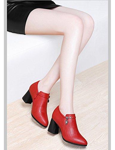 Tamaño 37 para Poco Color Zapatos Zapatos Cuero Altos Profunda de Solo Negro Británico la Rojo Boca de de Mujeres de Tacones mujer Las Femenino HWF Estilo g11dfSq