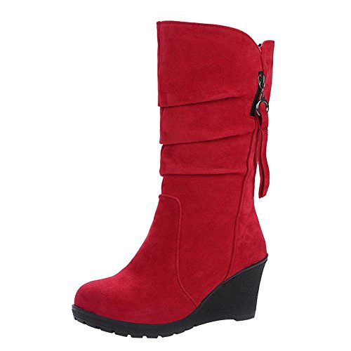 Mee Shoes Damen Keilabsatz halbschaft runde Nubukleder Stiefel Rot