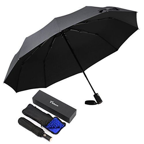 Leelbox Auto Umbrella Extra Large Windproof Folding Umbrellas Compact Travel Umbrella for Women and Man - with Absorbent Bag - Black