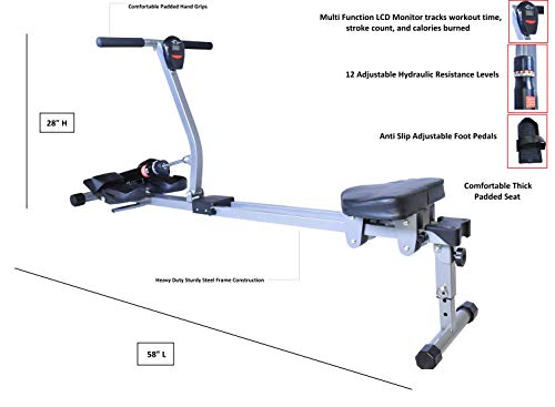 X-Factor Rowing Machine Pro Rower Full Motion Body Glider 12 Hydraulic Adjustable Levels Compact Home Gym Exercise Cardio Trainer LCD Monitor