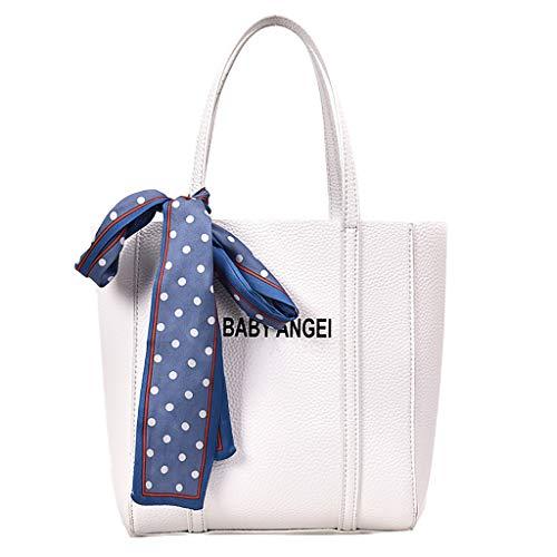 Pengy Women's Retro Handbag Letter Shoulder Bag Solid Color Handbag Bag for Lady Girl High School ()