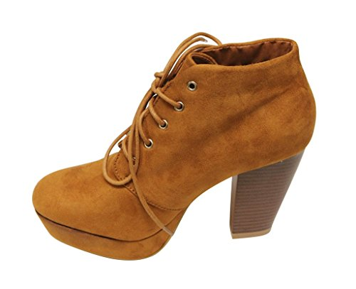 Bella 21 lace booties heel Goldie Tan almond Women's up platform ankle Marie high toe chunky suede rqrABwTa
