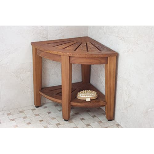 Floor Sample 15 5 Kai Corner Teak Shower Bench With Shelf On Sale