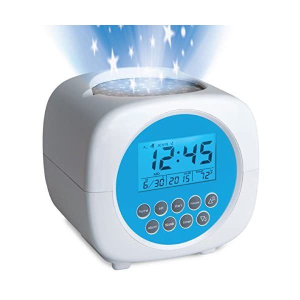 """Discovery Kids Color Changing Digital Star Projection LCD Alarm Clock w/ Built-in Sound Machine, Nature Recordings for Sleep, Galaxy Display On Ceiling/Walls, Volume Control, Requires 3 """"AA Batteries"""