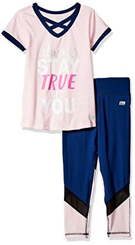 (Marika Girls' Big 2 Piece Knit Top and Legging Set, Rose Stay True, 7/8)