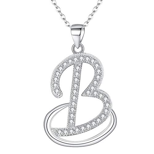 EVER FAITH 925 Sterling Silver CZ Cursive Initial Alphabet Letter B Adjustable Pendant Necklace Clear