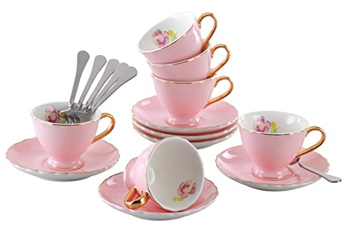 Jusalpha Porcelain Tea Cup and Saucer Coffee Cup Set with Saucer and Spoon Set of 6 (FD-TCS02 pink (6), 7oz) (Antiguos Juegos)