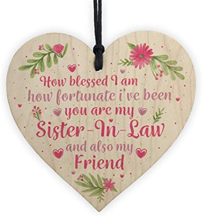LilithCroft99 Handmade Sister in Law Gift Wooden Heart Chic Plaque Keepsake Birthday Gift Thank You Family