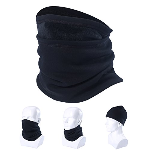 SUNMECI Cotton Velvet Neck Gaiter Warmer Windproof Thermal Face Mask Beanie Black (Soccer Neck Thermal)