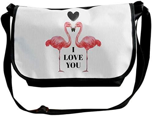 メッセンジャーバッグ ショルダーバッグ バレンタインデーのフラミンゴは、私はあなたを愛して引用 斜めがけ ワンショルダー バック カバン キャンバス 大容量 超軽量 学校 旅行 メンズ レディース 正規品