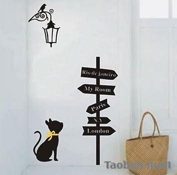 Vinilo decorativo pegatina pared, cristal, puerta (Varios colores a elegir)- senal de camino y gato: Amazon.es: Hogar
