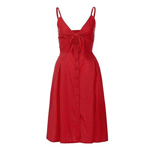 (iLUGU Off Shoulder Sleeveless Knee-Length Dress For Women 1/2 Button A-Line Beach)