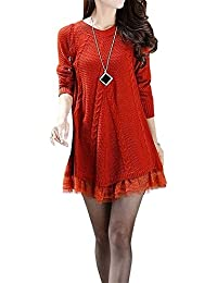 Women's Casual Knitted Sweater Dress Round Neck Lace Pullover Autumn Winter Clothes Tops